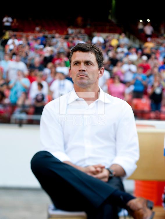San Jose Head Coach Mark Watson watches his team before a Major League Soccer game at RFK Stadium in Washington, DC.  D.C. United defeated San Jose Earthquakes, 1-0.