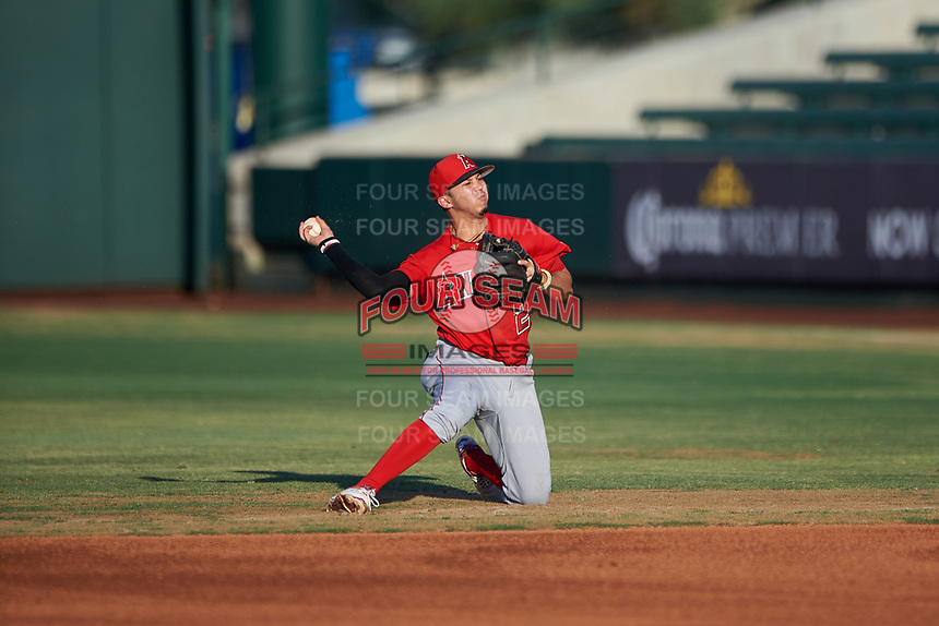 AZL Angels second baseman Livan Soto (2) makes a throw to first base during a rehab assignment in an Arizona League game against the AZL Padres 1 on July 16, 2019 at Tempe Diablo Stadium in Tempe, Arizona. The AZL Padres 1 defeated the AZL Angels 3-1. (Zachary Lucy/Four Seam Images)