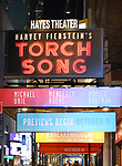 "Theatre Marquee for the Broadway Opening Night of ""Torch Song"" at the Hayes Theater on November 1, 2018 in New York City."