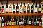 Stock photo of a Collection of bottles of wine in Cyprus Wine Museum Sodap and Etko wine industry of Limassol Horizontal