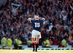 Ally McCoist bows out at Ibrox as he walks off the pitch in tears to finish his league playing career for Rangers in 1998