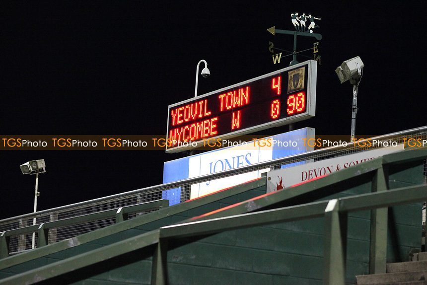 The scoreboard shows the final score of 4-0 to Yeovil during Yeovil Town vs Wycombe Wanderers, Coca Cola League Division One Football at Huish Park on 26th December 2009