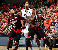 Louisville guard Terry Rozier (0) and Louisville forward Montrezl Harrell (24) during the game Saturday Feb. 7, 2015, in Charlottesville, Va. Virginia defeated Louisville  52-47. (Photo/Andrew Shurtleff)