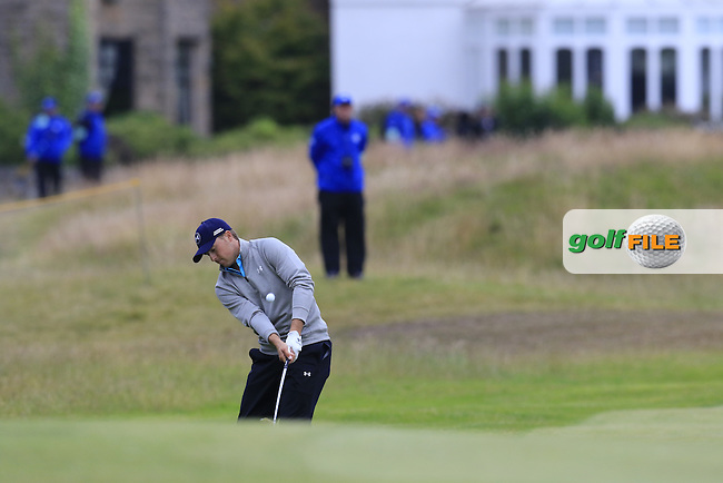 Jordan Spieth (USA) chips into the 17th green during Monday's Final Round of the 144th Open Championship, St Andrews Old Course, St Andrews, Fife, Scotland. 20/07/2015.<br /> Picture Eoin Clarke, www.golffile.ie