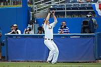 Wake Forest Demon Deacons first baseman Gavin Sheets (24) catches a pop fly in foul territory during the game against the Florida Gators in the completion of Game Two of the Gainesville Super Regional of the 2017 College World Series at Alfred McKethan Stadium at Perry Field on June 12, 2017 in Gainesville, Florida. The Demon Deacons walked off the Gators 8-6 in 11 innings. (Brian Westerholt/Four Seam Images)