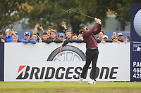 Tommy Fleetwood (ENG) on the 13th tee during Round 1of the Sky Sports British Masters at Walton Heath Golf Club in Tadworth, Surrey, England on Thursday 11th Oct 2018.<br /> Picture:  Thos Caffrey | Golffile<br /> <br /> All photo usage must carry mandatory copyright credit (© Golffile | Thos Caffrey)