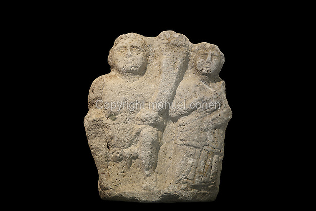 Sculpted group depicting 2 figures, from the Museum Of Apollonia near the Ardenica monastery in Fier, Albania. The museum was opened in 1958 to display artefacts found at the nearby Greek Illyrian archaeological site of Apollonia. Apollonia was an ancient Greek city in Illyria, founded in 588 BC by Greek colonists from Corfu and Corinth. It flourished in the Roman period and declined from the 3rd century AD when its harbour was silted up due to an earthquake. Picture by Manuel Cohen