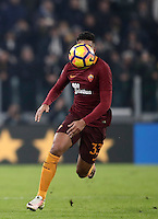 Calcio, Serie A: Juventus vs Roma. Torino, Juventus Stadium,17 dicembre 2016. <br /> Roma&rsquo;s Emerson Palmieri has his face hidden by the ball during the Italian Serie A football match between Juventus and Roma at Turin's Juventus Stadium, 17 December 2016.<br /> UPDATE IMAGES PRESS/Isabella Bonotto