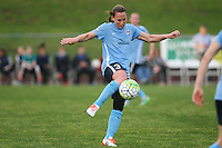 Piscataway, NJ, May 13, 2016. Sky Blue defender Christie Rampone (3) sends the ball forward. Sky Blue FC defeated the Boston Breakers, 1-0, in a National Women's Soccer League (NWSL) match at Yurcak Field.