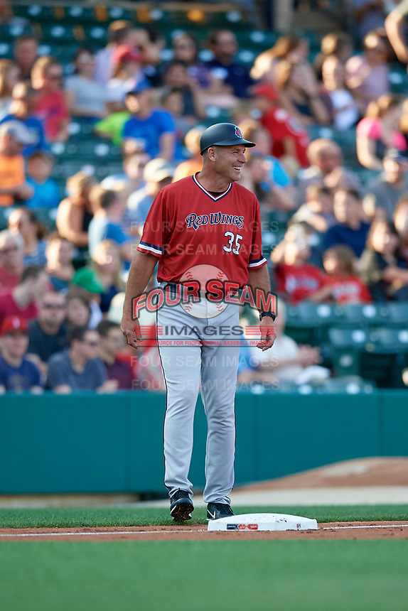 Rochester Red Wings manager Joel Skinner (35) during a game against the Indianapolis Indians on July 24, 2018 at Victory Field in Indianapolis, Indiana.  Rochester defeated Indianapolis 2-0.  (Mike Janes/Four Seam Images)