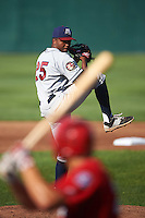 Mahoning Valley Scrappers starting pitcher Juan Hillman (25) delivers a pitch to batter Ryan Ripken during a game against the Auburn Doubledays on June 19, 2016 at Falcon Park in Auburn, New York.  Mahoning Valley defeated Auburn .  (Mike Janes/Four Seam Images)