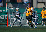 16 April 2016: University of Maryland, Baltimore County Retriever Attacker Nate Lewnes, a Senior from Arnold, MD, scores a goal against the University of Vermont Catamounts at Virtue Field in Burlington, Vermont. The Retrievers fell to the Catamounts 14-10 in NCAA Division I play. Mandatory Credit: Ed Wolfstein Photo *** RAW (NEF) Image File Available ***