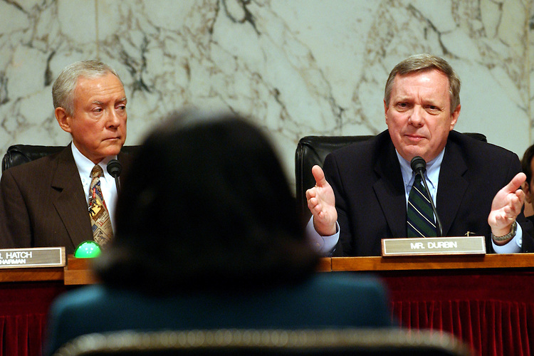 Chairman Orrin Hatch, R-UT., listens as Richard Durbin, D-Ill., as he questions Justice Janice Rogers Brown during the Senate Judiciary full committee hearing on the nomination of Janice Brown to be U.S. circuit judge for the District of Columbia Circuit..