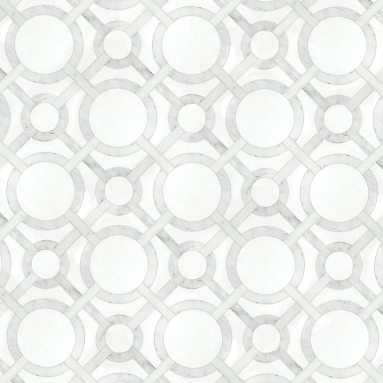 Cirque Petite, a waterjet stone mosaic, shown in honed Thassos and polished Calacatta Tia.
