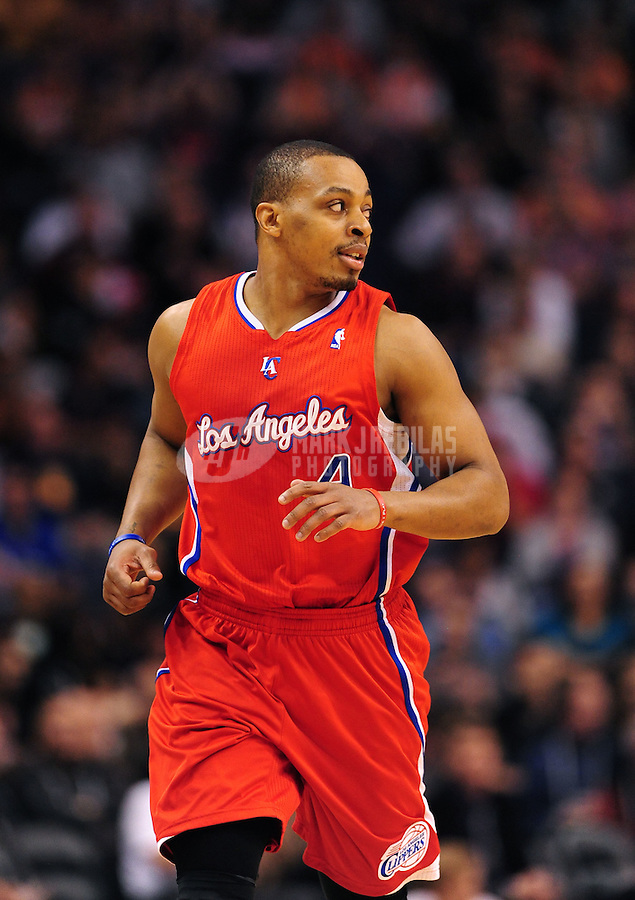 Mar. 2, 2012; Phoenix, AZ, USA; Los Angeles Clippers guard Randy Foye runs down court during the game against the Phoenix Suns at the US Airways Center. The Suns defeated the Grizzlies 86-84. Mandatory Credit: Mark J. Rebilas-USA TODAY Sports