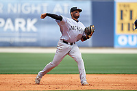Jackson Generals third baseman Dawel Lugo (31) throws to first base during a game against the Biloxi Shuckers on April 23, 2017 at MGM Park in Biloxi, Mississippi.  Biloxi defeated Jackson 3-2.  (Mike Janes/Four Seam Images)