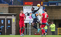 Aaron Pierre of Wycombe Wanderers is knocked off the ball during the Sky Bet League 2 match between Wycombe Wanderers and Leyton Orient at Adams Park, High Wycombe, England on 23 January 2016. Photo by Andy Rowland / PRiME Media Images.