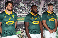 Warren Whiteley (captain) with Tendai Mtawarira and Malcolm Marx during the South African Official Springbok team photograph at the team hotel Southern Sun Pretoria Hotel,Pretoria South Africa. 9th June 2017(Photo by Steve Haag Sports)