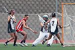 San Diego, CA 05/21/11 - Michaela Guerrera (Coronado #7), Meganne Weissenfels (Coronado #21), Brianne Clifford (Coronado #10) and unidentified Cathedral Catholic player in action during the 2011 CIF San Diego Division 2 Girls lacrosse finals between Cathedral Catholic and Coronado.