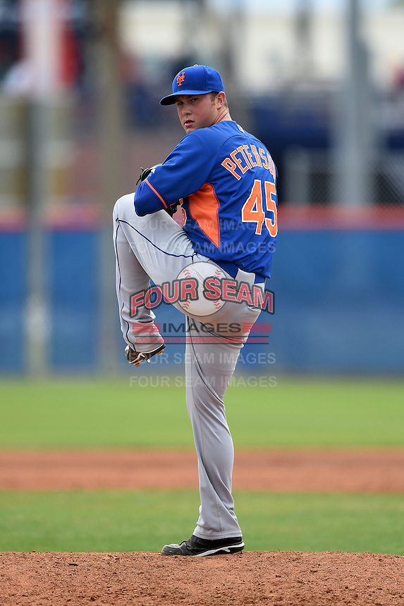 New York Mets pitcher Tim Peterson (45) during a minor league spring training game against the St. Louis Cardinals on March 27, 2014 at the Port St. Lucie Training Complex in Port St. Lucie, Florida.  (Mike Janes/Four Seam Images)