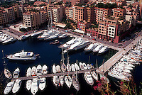 Aerial view of Fontvielle Marina with yachts and apartments, Monte Carlo, Monaco