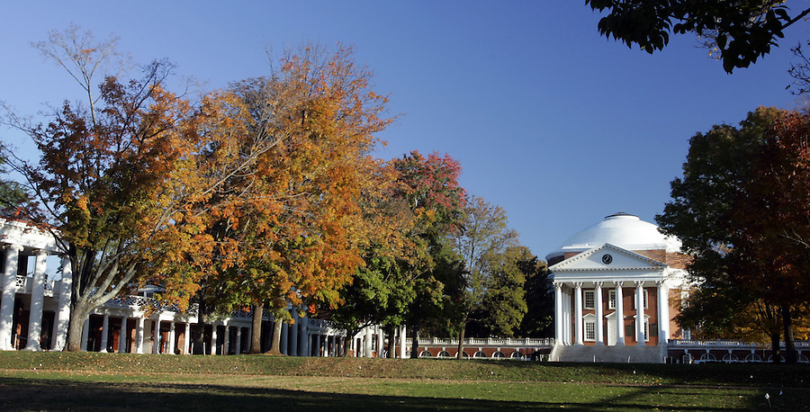 Fall colors at UVa 2005. Photo/ Andrew Shurtleff lawn pavilion rptunda