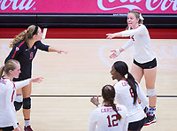 STANFORD, CA - November 4, 2018: Meghan McClure, Morgan Hentz, Jenna Gray, Tami Alade, Audriana Fitzmorris at Maples Pavilion. No. 2 Stanford Cardinal defeated the Utah Utes 3-0.