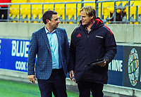 Head coaches Jason Holland and Scott Robertson chat after the Super Rugby Aotearoa match between the Hurricanes and Crusaders at Sky Stadium in Wellington, New Zealand on Saturday, 21 June 2020. Photo: Dave Lintott / lintottphoto.co.nz