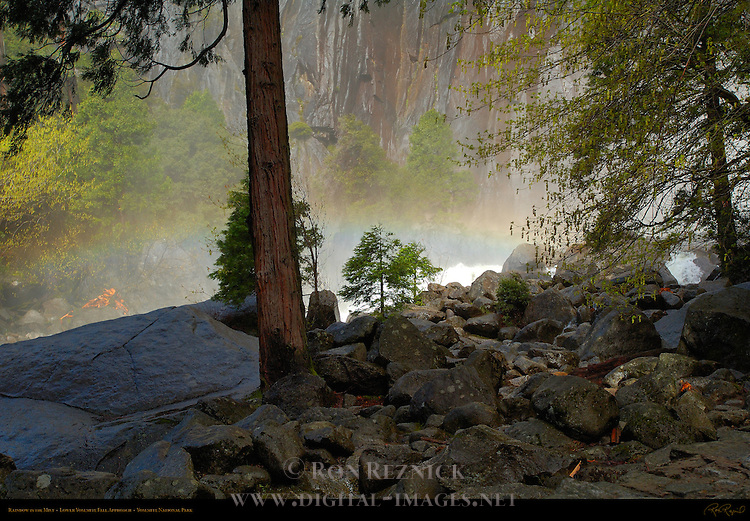 Rainbow in the Mist, Eastern Approach to Lower Yosemite Fall, Yosemite National Park