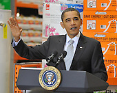 Alexandria, VA - December 15, 2009 -- United States President Barack Obama discusses the economic impact of energy saving home retrofits with labor, manufacturing, and small business leaders during remarks at a Northern Virginia Home Depot store in Alexandria, Virginia on Tuesday, December 15, 2009..Credit: Ron Sachs - Pool via CNP