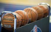 15.01.2014 London, England.  Ball rack during NBA Media Day, prior  to the NBA Basketball Global Game between Atlanta Hawks v Brooklyn Nets taking place at the O2 Arena London Jan 16th