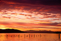 Dawn at Ilwaco Harbor, Ilwaco, Washington, US