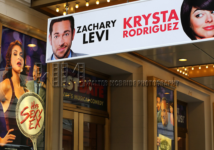 NEW YORK, NY - JULY 12: Theatre Marquee unveiling for  ''First Date' starring Zachary Levi  and Krysta Rodriguez  at The Longacre Theatre on July 12, 2013 in New York City.