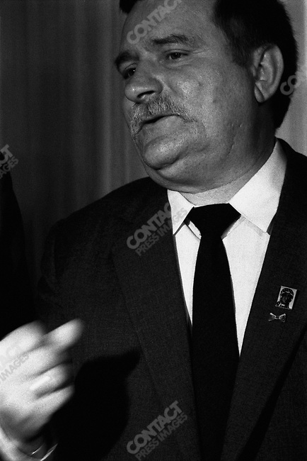Lech Walesa at the Solidarity headquarters in Gdansk, Poland, August 1989