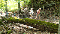 NWA Democrat-Gazette/FLIP PUTTHOFF <br /> Lost Ridge Trail levels out on a ridge top      Sept 16 2015    and meanders among bluffs and rock formations.