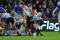 Danny Care of Harlequins passes during the Premiership Rugby match between Harlequins and Saracens - 09/01/2016 - Twickenham Stoop, London<br /> Mandatory Credit: Rob Munro/Stewart Communications