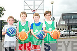 New techniques to help improve their game were taught by the coaches at the summer basketball camp in Killarney Community College last week. <br /> L-R Joshua Switzer, Ben O'Carroll, Oran O'Sulllivan and Tom Cahillane.
