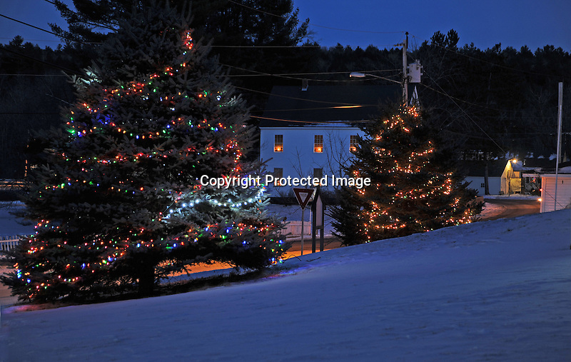 Village Christmas Lights on Christmas Eve in the Rural Village of Marlow, New Hampshire