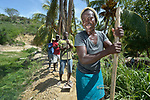 A year after Hurricane Matthew ravaged parts of Haiti, Lucienne Tanasie sings as she and some neighbors tamp down a dike they built in the community of Bassin Hady, a village in the country's drought-stricken northwest where seven people died during the storm. In the wake of the hurricane, residents here constructed a series of earthen dikes that catch and hold rain water, preventing soil erosion and providing water for expanded agriculture. They did it with help from Lutheran World Relief, one of several members of the ACT Alliance that are helping Haitians build resiliency as they rebuild from the storm.