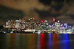 Sydney City Skyline at night from East Balmain . Sydney, Australia. Thursday 27th June  2013. Photo: (Steve Christo)