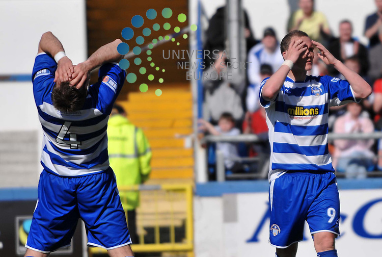 Morton's Peter Weatherson (right) misses a great chance for an equaliser during the Morton v Partick Thistle match at Cappielow.