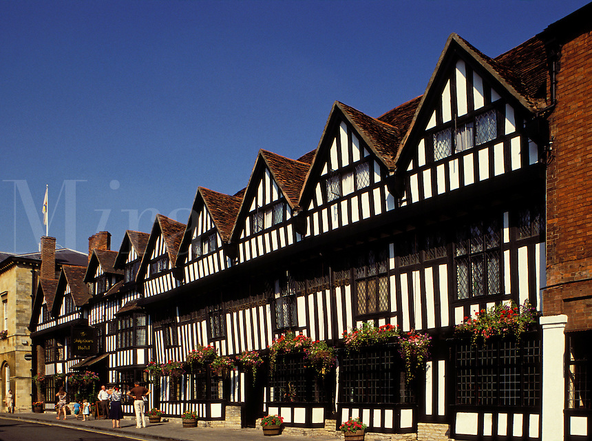 England.  Stratford-upon-Avon. The Shakespear Hotel.  The town of Stratford in the Midlands is famous as the birthplace and home of William Shakespeare.