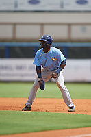 Tampa Bay Rays Tony Pena (93) leads off first base during a Florida Instructional League game against the Baltimore Orioles on October 1, 2018 at the Charlotte Sports Park in Port Charlotte, Florida.  (Mike Janes/Four Seam Images)