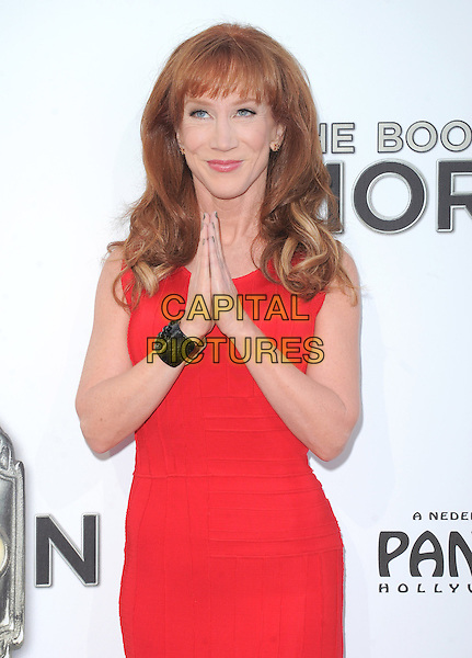 "Kathy Griffin.""The Book of Mormon"" Hollywood Opening night Held At The Pantages theatre, Hollywood, California, USA..September 12th, 2012.half length dress hands together praying black cuff bracelet red sleeveless  .CAP/DVS.©DVS/Capital Pictures."