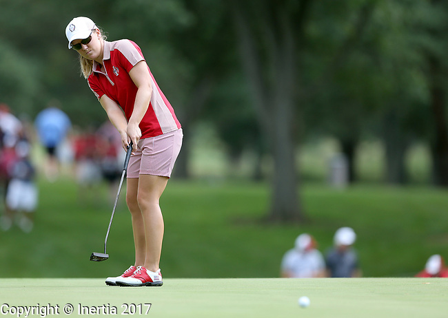 DES MOINES, IA - AUGUST 18: USA's Austin Earnst watches her birdie putt roll to the cup on the 6th hole during Friday's morning match at the 2017 Solheim Cup in Des Moines, IA. (Photo by Dave Eggen/Inertia)