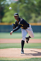 Pittsburgh Pirates pitcher Domingo Robles (79) during a minor league Spring Training game against the Atlanta Braves on March 13, 2018 at Pirate City in Bradenton, Florida.  (Mike Janes/Four Seam Images)