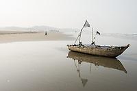 Bangladesh, Cox's Bazar Beach.The longest unbroken sea beach in the world running 75 miles. Fishing boats on the beach.