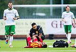 S&ouml;dert&auml;lje 2014-05-18 Fotboll Superettan Syrianska FC - Hammarby IF :  <br /> Syrianskas Yussuf Saleh har skadat sig och tittas till av sjukv&aring;rdare<br /> (Foto: Kenta J&ouml;nsson) Nyckelord:  Syrianska SFC S&ouml;dert&auml;lje Fotbollsarena Hammarby HIF Bajen skada skadan ont sm&auml;rta injury pain
