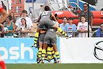 27 August 2011: Philadelphia's Laura del Rio (ESP) (13) jumps on the pile of teammates celebrating an 87th minute goal by Amy Rodriguez. Western New York Flash defeated the Philadelphia Independence 5-4 on penalty kicks to win the final after the game ended in a 1-1 tie after overtime at Sahlen's Stadium in Rochester, New York in the Women's Professional Soccer championship game.