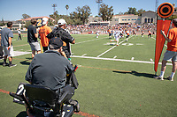 Larry Layne '71, Football Action Team<br /> The Occidental Tigers football team plays against Willamette University in Jack Kemp Stadium on Saturday, Sept. 15, 2018. It was their first home game of the season and second game of the season. Willamette won, 25-6.<br /> (Photo by Marc Campos, Occidental College Photographer)